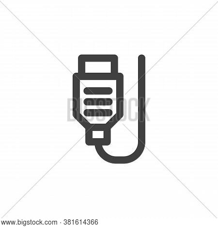 Computer Cable Line Icon. Linear Style Sign For Mobile Concept And Web Design. Usb Wire Cable Outlin