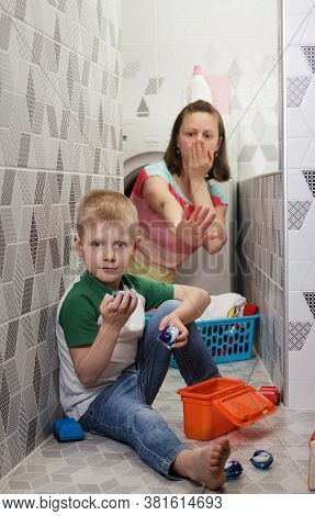 Bathroom. Danger Of Poisoning Child With Washing Capsules