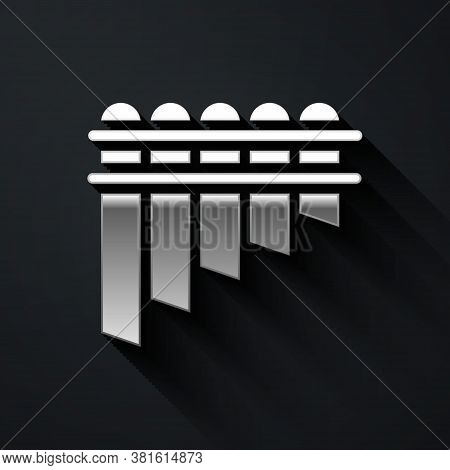 Silver Pan Flute Icon Isolated On Black Background. Traditional Peruvian Musical Instrument. Zampona