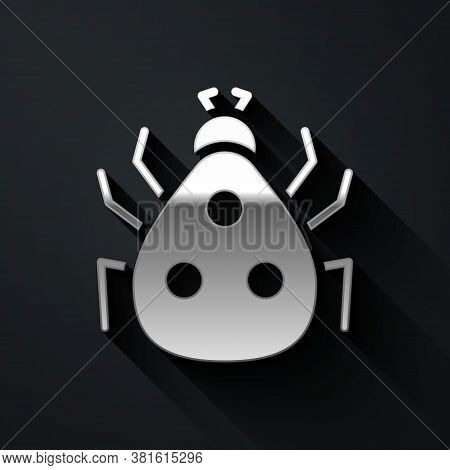 Silver Ladybug Icon Isolated On Black Background. Long Shadow Style. Vector