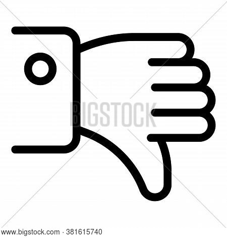 Hand Dislike Icon. Outline Hand Dislike Vector Icon For Web Design Isolated On White Background