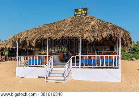 Candolim, North Goa, India - November 23, 2019: Exterior Of The Red Lobster Beach Cafe Located On Th