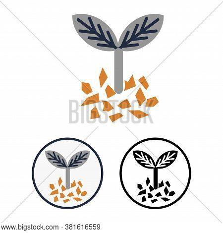 Simple Flat Vector Plant Fertilizer Icon. Round Signs Or Logo With A Silhouette Of A Young Growing S