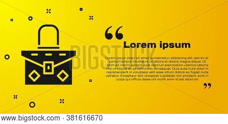 Black Handbag Icon Isolated On Yellow Background. Female Handbag Sign. Glamour Casual Baggage Symbol