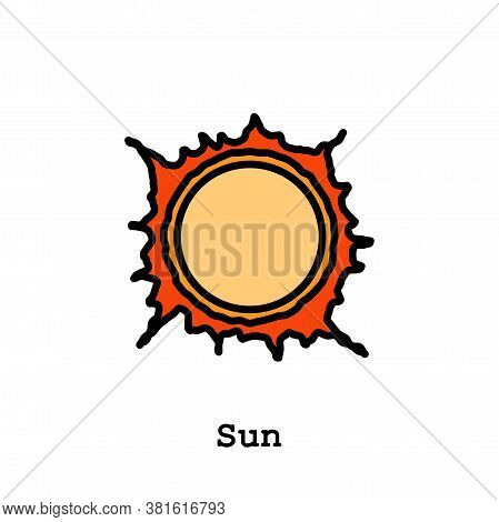 Sun, Star Sun, Flare In Sun Color Icon Thin Line, Linear, Outline Vector. Sun, Star Sun, Flare In Su