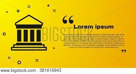 Black Parthenon From Athens, Acropolis, Greece Icon Isolated On Yellow Background. Greek Ancient Nat
