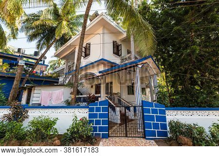 Candolim, North Goa, India - November 23, 2019: Street View Of Candolim At Sunny Day With Typical Re