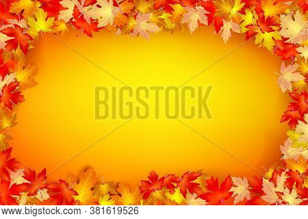 Autumn Leaf Falling On A Orange Background, Dry Of Maple Leaf, For Autumn Design Element, Vector Ill