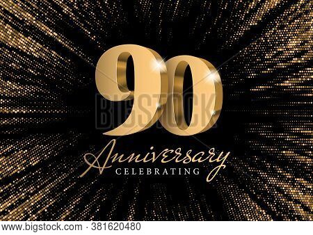 Anniversary 90. Gold 3d Numbers. Against The Backdrop Of A Stylish Flash Of Gold Sparkling From The