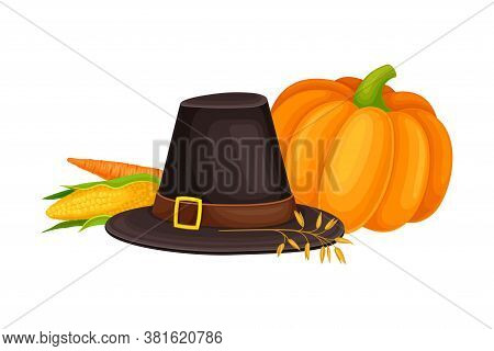 Pilgrim Hat And Agricultural Crops As Thanksgiving Autumnal Holiday Vector Composition