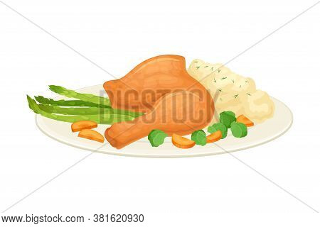 Roasted Turkey Or Chicken Leg Served On Plate With Mashed Potato And Vegetables As Thanksgiving Day