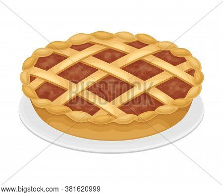 Baked Pumpkin Pie With Crust Served On Plate As Thanksgiving Day Attribute Vector Illustration
