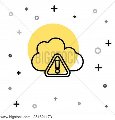 Black Line Storm Warning Icon Isolated On White Background. Exclamation Mark In Triangle Symbol. Wea