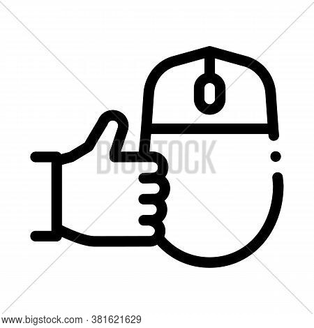 Computer Mouse And Hand Gesture Good Icon Vector. Computer Mouse And Hand Gesture Good Sign. Isolate