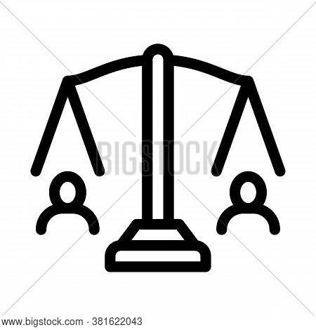 Huma Rights Balance On Scales Icon Vector. Huma Rights Balance On Scales Sign. Isolated Contour Symb