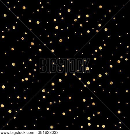 Sparse Gold Confetti Luxury Sparkling Confetti. Scattered Small Gold Particles On Black Background.