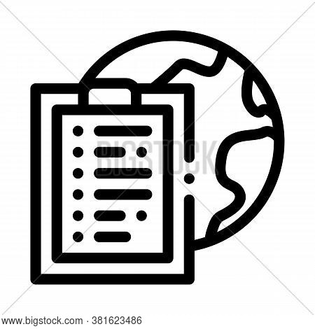 Earth Sphere And Task Paper List On Clipboard Icon Vector. Earth Sphere And Task Paper List On Clipb