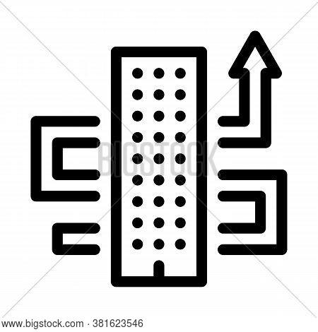 Skyscraper And Growing Arrow Icon Vector. Skyscraper And Growing Arrow Sign. Isolated Contour Symbol