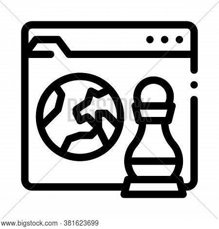 Chess Figure And Earth On Web Site Icon Vector. Chess Figure And Earth On Web Site Sign. Isolated Co