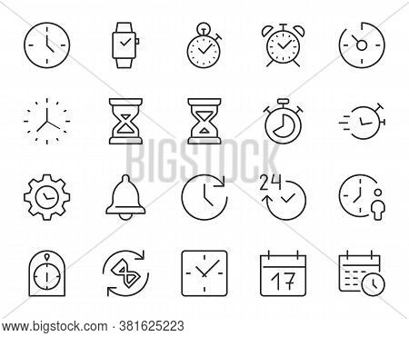 Time, Clock Thin Line Icon. Minimal Vector Illustration. Included Simple Outline Icons As Watch, Sto