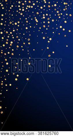 Festive Overwhelming Confetti. Celebration Stars. Sparse Gold Confetti On Dark Blue Background. Good
