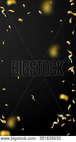 Streamers And Confetti. Gold Streamers Tinsel And Foil Ribbons. Confetti Vignette On Black Backgroun