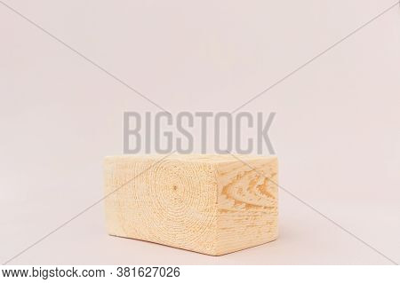 Wooden Textured Square Podium On A Light Background. Background For Product Photography, Organic Cos