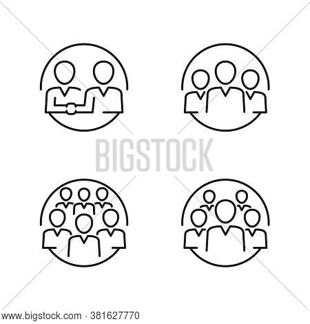 People Icons In Thin Outline Creative Design - Couple Of Partners, Three, Five And Six People Team -