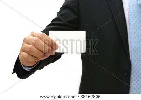 Business Man Holding Blank Card