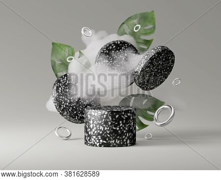 3d Black Terrazzo Rock Pedestal Podium, Cloud And Palm Monstera Leaves. Gray Abstract Studio Backgro