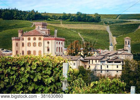 Panorama Of Barolo (piedmont, Italy) With The Town, The Medieval Castle And The Vineyards. Barolo Is