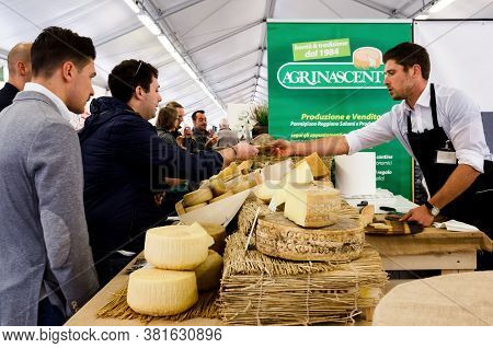 Bra, Italy - September 18, 2017: Traditional Hard Cheese On A Market Stall In Bra (italy), On Septem
