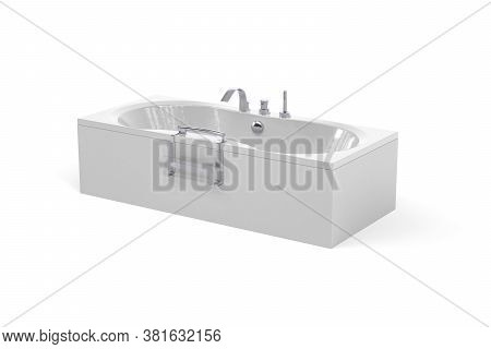 Beautiful Luxurious White Modern Bathtub With Fitted Taps - Isolated On White Background - 3d Render