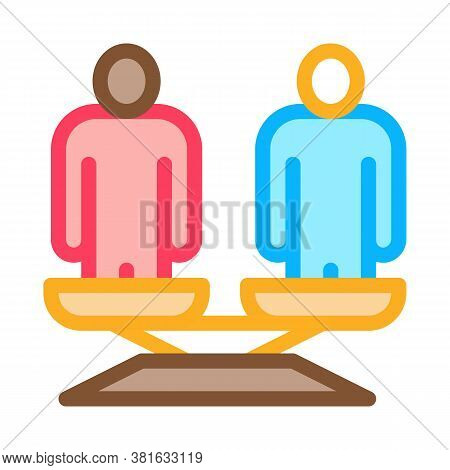 Different Race Human Balance On Scales Icon Vector. Different Race Human Balance On Scales Sign. Col