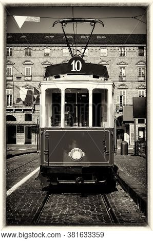 Vintage Looking Photo Of The Historical Tramway Line Number Ten (from Crocetta To Regio Parco Street