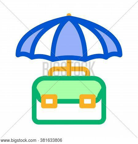 Business Case Protect With Umbrella Icon Vector. Business Case Protect With Umbrella Sign. Color Sym