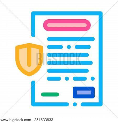 Insurance Agreement Paper List Icon Vector. Insurance Agreement Paper List Sign. Color Symbol Illust
