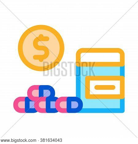 Medicaments Buy Icon Vector. Medicaments Buy Sign. Color Symbol Illustration