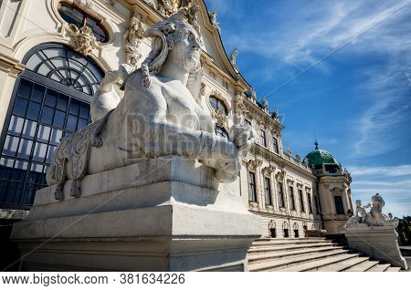 Upper Belvedere Castle (schloos Belvedere) In Vienna, Austria. Detail Of The Facade And Of The Sphin