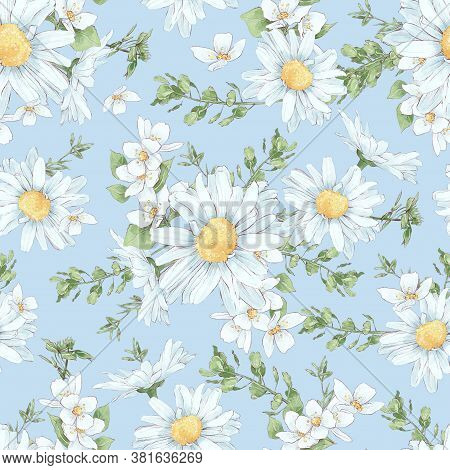 Seamless Pattern Of Daisies And Wildflowers In Digital Watercolor Style