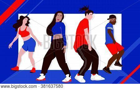 Four Dancers Rehearsing Hip-hop Dance Or Street Dance Style Turfing, Krump, Jazz-funk Choreography I