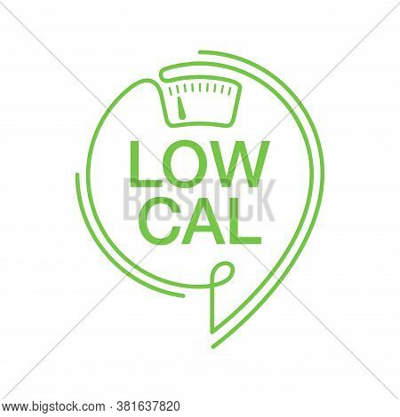 Low Cal Stamp In Thin Line - Combination Of Pin Mark And Weight Scales - Pictogram For Dietary Low-c