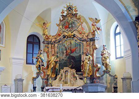 KLANJECKO JEZERO, CROATIA - NOVEMBER 06, 2013: High altar in the chapel of Saint George at the Lake in Klanjecko Jezero, Croatia