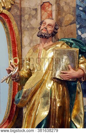 KLANJECKO JEZERO, CROATIA - NOVEMBER 06, 2013: Saint Peter, statue on high altar in chapel of Saint George at the Lake in Klanjecko Jezero, Croatia