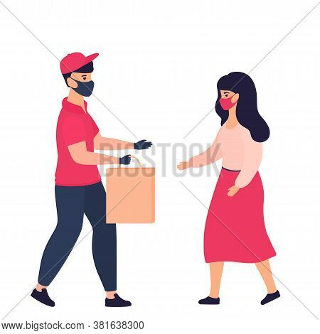 A Courier Wearing A Protective Mask And Gloves Delivers For Woman Purchase. Safe Delivery During The