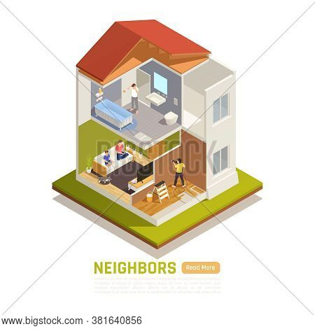 Apartment Building Neighbors Problems Isometric Compositions With Top Floor Bathtub Leak Drilling Co