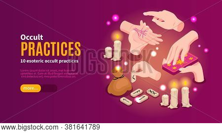 Isometric Psychic Fortune Occult Horizontal Banner With Editable Text Button And Images Of Hands And