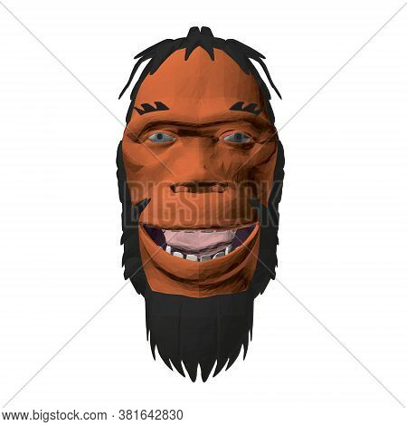 Low Poly Head Of A Neanderthal Man. Polygonal Head Of A Prehistoric Man. Front View. 3d. Vector Illu
