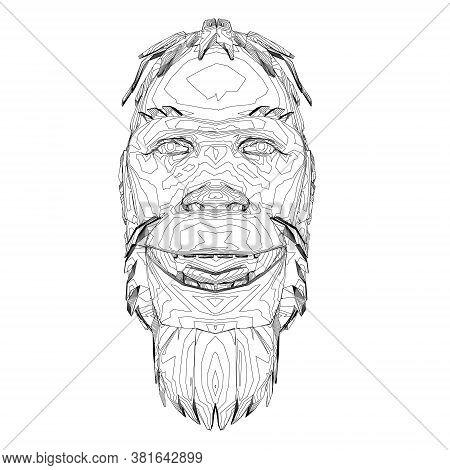 Contour Head Of A Neanderthal. Contour Head Of A Prehistoric Man