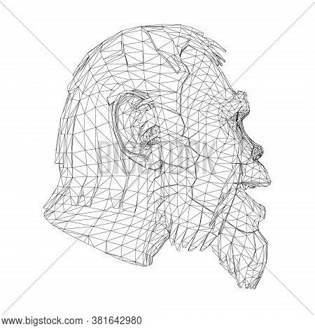 Wireframe Low Poly Head Of A Neanderthal. Wireframe Head Of A Prehistoric Man. Side View. 3d. Vector